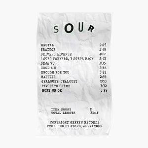 olivia rodrigo sour receipt  Poster RB0906 product Offical Unus Annus Merch