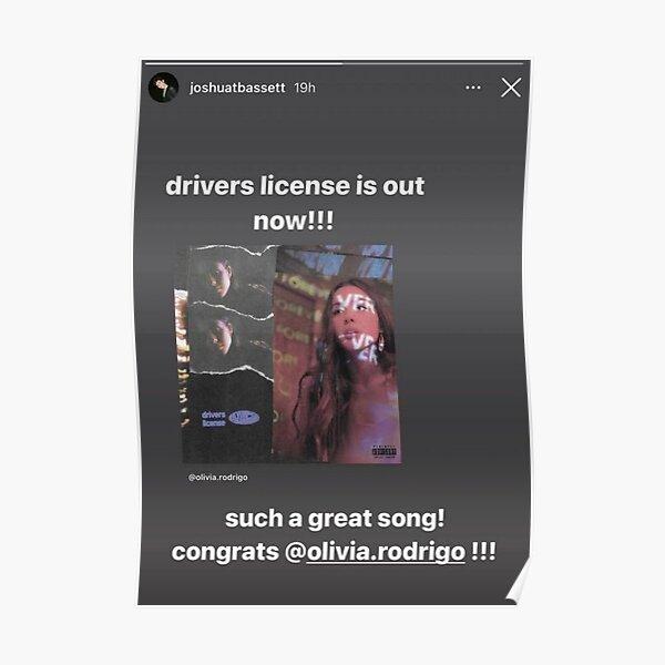 Driver's License Instagram Story - Joshua Bassett Olivia Rodrigo Poster RB0906 product Offical Unus Annus Merch