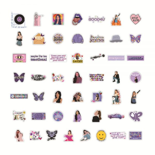 10 50pcs Hot Singer Olivia Rodrigo Sour Stickers For Car Laptop PVC Backpack Water Bottle Pad - Olivia Rodrigo Merch